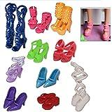 10 pares tacones sandalias zapatos para Barbie muñecas juguetes accesorios estilo aleatorio