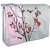 Pink Sparse Floral 15.4 inch Laptop Padded Compartment Shoulder Messenger Bag for K-Cliffs Lifestyle