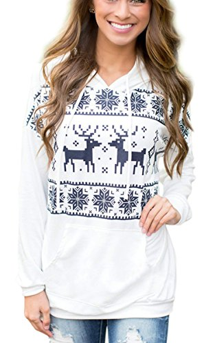 Eshion Women's Casual Reindeer Fawn Hooded Fleece Sweater Sweatshirt Jacket