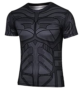 WUKE Men's Iron-man Batman Captain America Cycling Jersey Quick Dry T-shirt