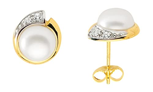 Stud Earrings with Freshwater Pearl and Zirconia from 333 gold
