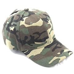 10 Pack Baseball Cap Hat CAMO CAMOUFLAGE Woodland Army Color Velcro Adjustable Size by MegaDeal