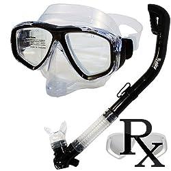 Prescription Purge Mask Dry Snorkel Snorkeling Scuba Diving Combo Set, TBK
