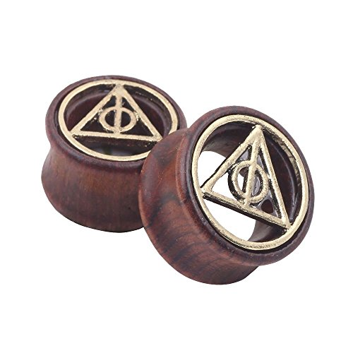 Deathly Hallows Organic Wood Flesh Tunnels Double Flared Ear Stretcher Saddle Plugs Gauge 14mm (Wood Ear Stretching Kit compare prices)
