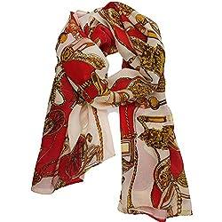 eFuture(TM) Red/Beige Women Traveler Chain Print Silky Feel Chiffon Scarf Wrap Long Shawls +eFuture's nice Keyring