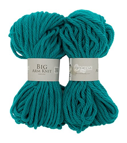 Ophelia Italy BigArmKnit011Filo in lana spesso, 70% acrilico 30% lana vergine, pacchetto 2x 100G, verde smeraldo
