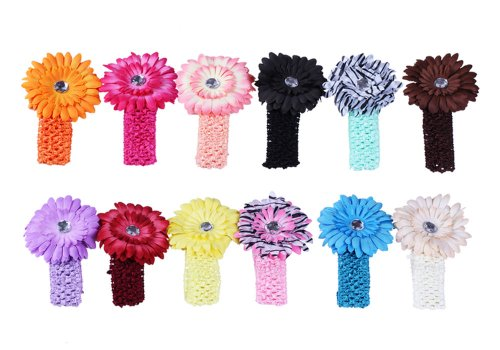 Bundle Monster 24-Piece Daisy Flower Clip Crocheted