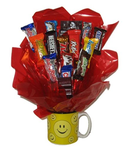 Chocolate Candy Bouquet in a Smiley Mug