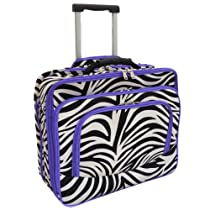 All-Season Fashion Print Womens Rolling 17-inch Laptop Case - Purple Zebra Trim