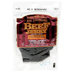 SnackMasters Certified All Natural Gourmet Beef Jerky, Original, 2-Ounce Packages (Pack of 8)