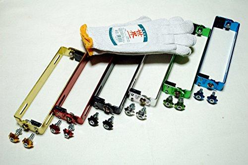 選べる6色 ナンバー アップ ステー プレート 角度 調整 星型 ボルト 付き 【ADVANTAGE】 アルミ 原付 スクーター から 大型 バイク まで 共通 作業用に世界一軍手セット (レッドA)