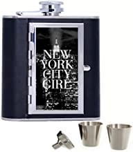 Amazing New York City Night Pattern Custom Personalized 6oz Pu Leather Flask Black Stainless Steel F