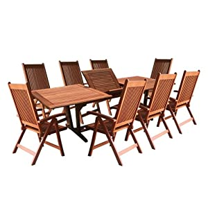 Amazon.com: VIFAH V232SET4 Outdoor Wood 8-Piece Dining Set with ...
