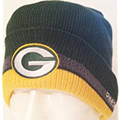NFL Green Bay Packers Green Cuffed Ribbed Yellow Tip Knit Reebok Beanie Winter Cap by Reebok