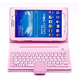 SUPERNIGHT Wireless Bluetooth Silicone Keyboard PU Leather Tablet Stand Case for Samsung Galaxy Tab 3 7.0 inch 7'' T210 T211 P3200 P3210-Pink