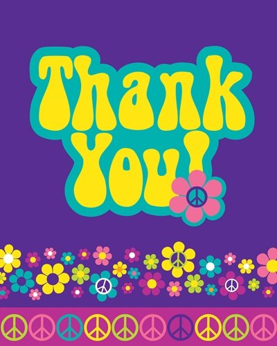 Groovy Girl Party Thank You Cards 8 Pack