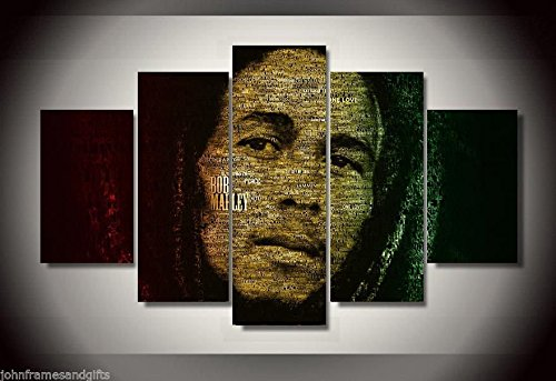 Bob Marley print canvas in 5 pieces (Bob Marley Painting compare prices)