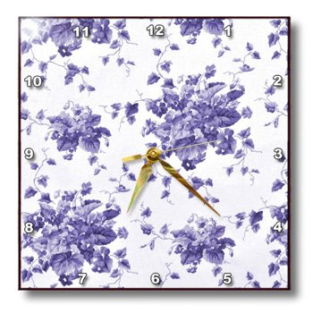 Florene - Shabby Chic - Print Of Violet Floral Shabby Chic - Wall Clocks - 15X15 Wall Clock - Dpp_194798_3 front-286073