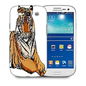 Snoogg Sketch Of White Tiger Vector Illustration Designer Protective Back Case Cover For Samsung Galaxy S3