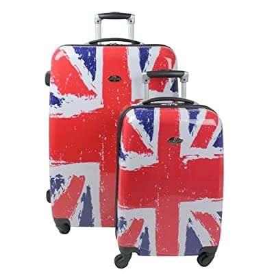 Swiss Case 4 Wheel 2Pc Suitcase Set UNION JACK / BRITISH FLAG from Swiss Case