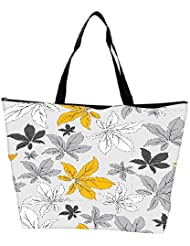 Snoogg Yellow Flower Grey Designer Waterproof Bag Made Of High Strength Nylon