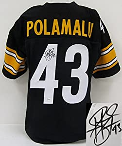 Troy Polamalu Pittsburgh Steelers Signed Black Custom Jersey JSA ITP by Sports Integrity