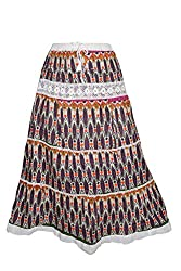 Indiatrendzs Women's Maxi Skirt Colorful Printed Cotton Fancy Long Skirts