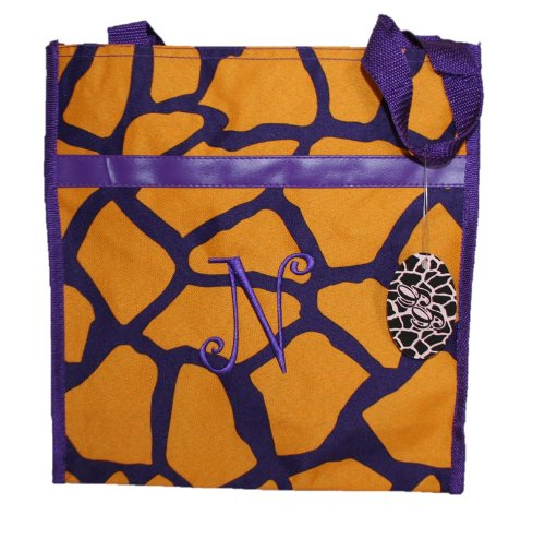 Monogrammed Gold and Purple Zippered Tote Bag (N)