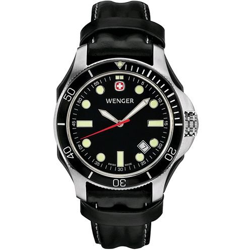 Wenger Men's 72325 Battalion III Diver Black Dial Black Leather Watch