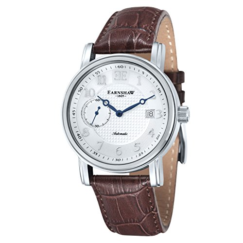 Thomas Earnshaw Fitzroy Men's Automatic Watch with White Dial Analogue Display and Brown Leather Strap ES-8027-02