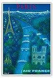 Paris - River Seine, Eiffel Tower, Notre Dame - Air France - Vintage Airline Travel Poster by Bernard Villemot c.1963 - Master Art Print - 13in x 19in