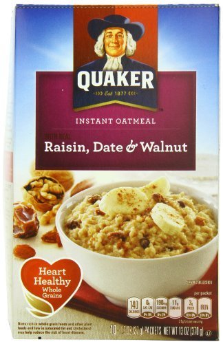 Quaker Instant Oatmeal Raisin, Date & Walnut, 10-Count Boxes (Pack Of 4) By Quaker Oatmeal [Foods]