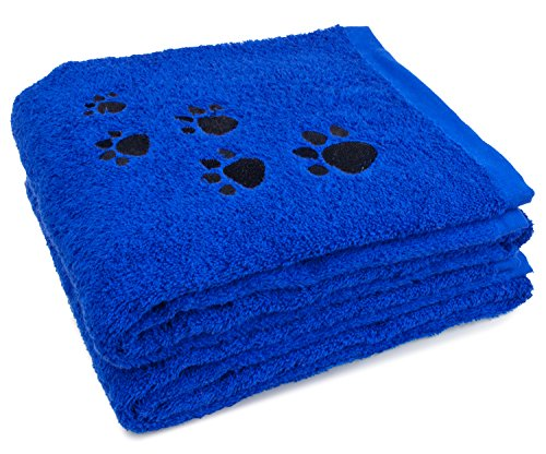 2-Pack Pet Bath Towel 100% Cotton Paw Print Embroidered Dog and Cat, Marine Blue