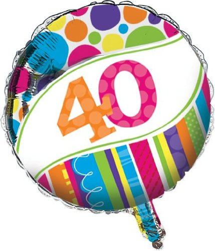 Creative Converting Bright and Bold 40th Birthday 2-Sided Round Mylar Balloon