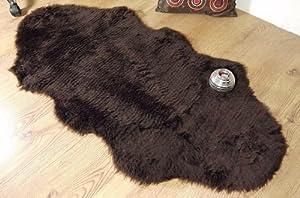 Chocolate brown faux fur sheepskin style double rug 70 x 140 cm