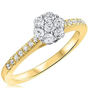1/2 CT. T.W. Diamond Ladies Engagement Ring 14K Yellow Gold- Size 10.75