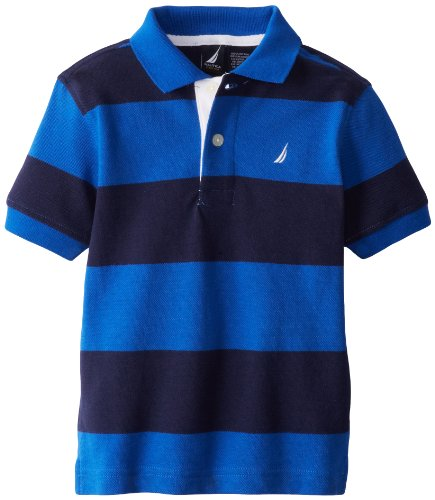 Nautica Little Boys' Short Sleeve Stripe Pique Polo 2, Blue Jean, 4T front-1055834