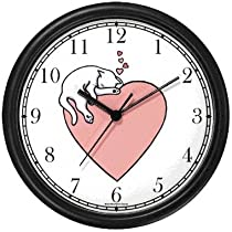 Cat Sleeping - Pink Heart - Cat Wall Clock by WatchBuddy Timepieces