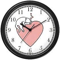 Cat Sleeping - Pink Heart - Cat Wall Clock by WatchBuddy Timepieces
