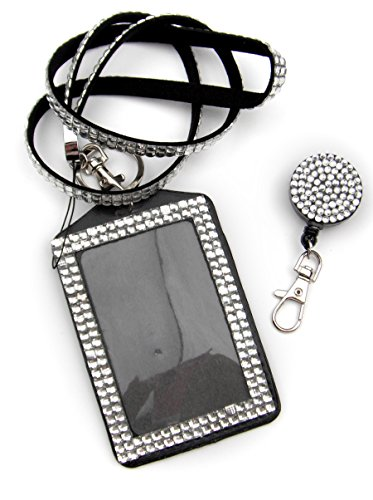 ALL in ONE Rhinestone Lanyard Bling Crystal Necklace + Badge Reel + Card Holder for Business Id/key/cell Phone (WHITE) (Crystal Holder Necklace compare prices)