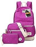Leaper Girl's Canvas Cute Dots School Backpack+Cross Body Bag+Pencil Bag(3PCS, Purple)