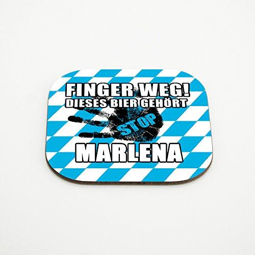 Untersetzer für Gläser mit Namen Marlena und schönem Motiv - Finger weg! Dieses Bier gehört Marlena