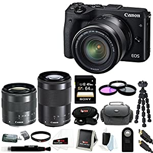Canon EOS M3 Digital Camera with EF-M 18-55mm & 55-200mm Lens + Sony 64GB SD Card + 52mm Filter Kit + Gadget Case and Deluxe Accessory Bundle