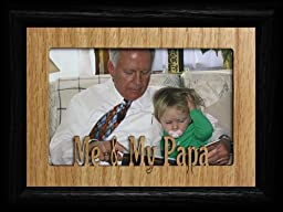 5x7 ME & MY PAPA Landscape BLACK Picture Frame ~ Holds a 4x6 or cropped 5x7 Photo ~ Wonderful Gift Idea for Papa from Grandchild!