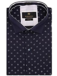 Warewell Men's Slim Fit Pure Cotton Navy Shirt