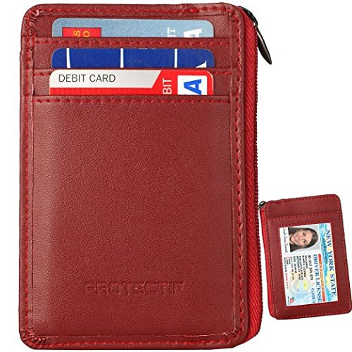 01. RFID Blocking Sleeves Front Pocket Leather Wallet for Women and Men, RFID Safe Sleeve Mini Card Holder with Zipper and ID Window,