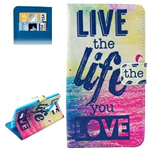 Live the Life You Love Pattern Horizontal Flip Magnetic Buckle Leather Case with Card Slots & Wallet & Holder for LG G4
