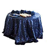 ShiDianYi 132'' Round Navy Blue Sequin Tablecloth For Wedding/Party