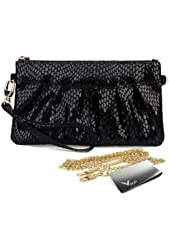 Missy K Leather Wristlet Clutch Purse, Snake Skin, + kilofly Money Clip