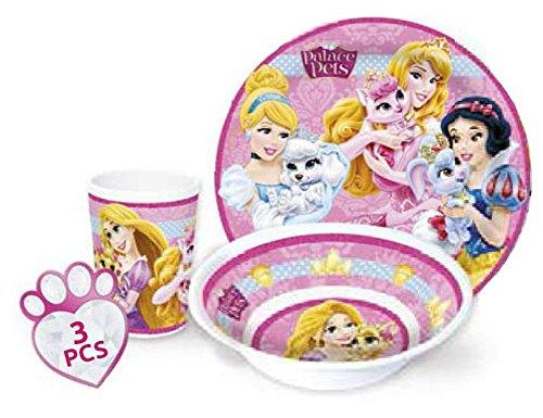 Disney Princess bambini Servizio con piatto, ciotola per müsli e bicchiere (U02) in melamina